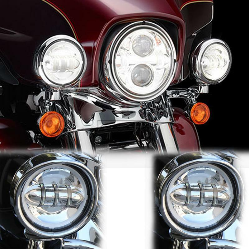 4 5 Quot Chrome Led Daymaker Spot Passing Lights For Harley Road King