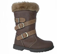 GORGEOUS YOUNG GIRLS PETRA BOOTS ~ BROWN ~ STRAPS ~ FUR ~ SIZE 5 6 7 8 9 10