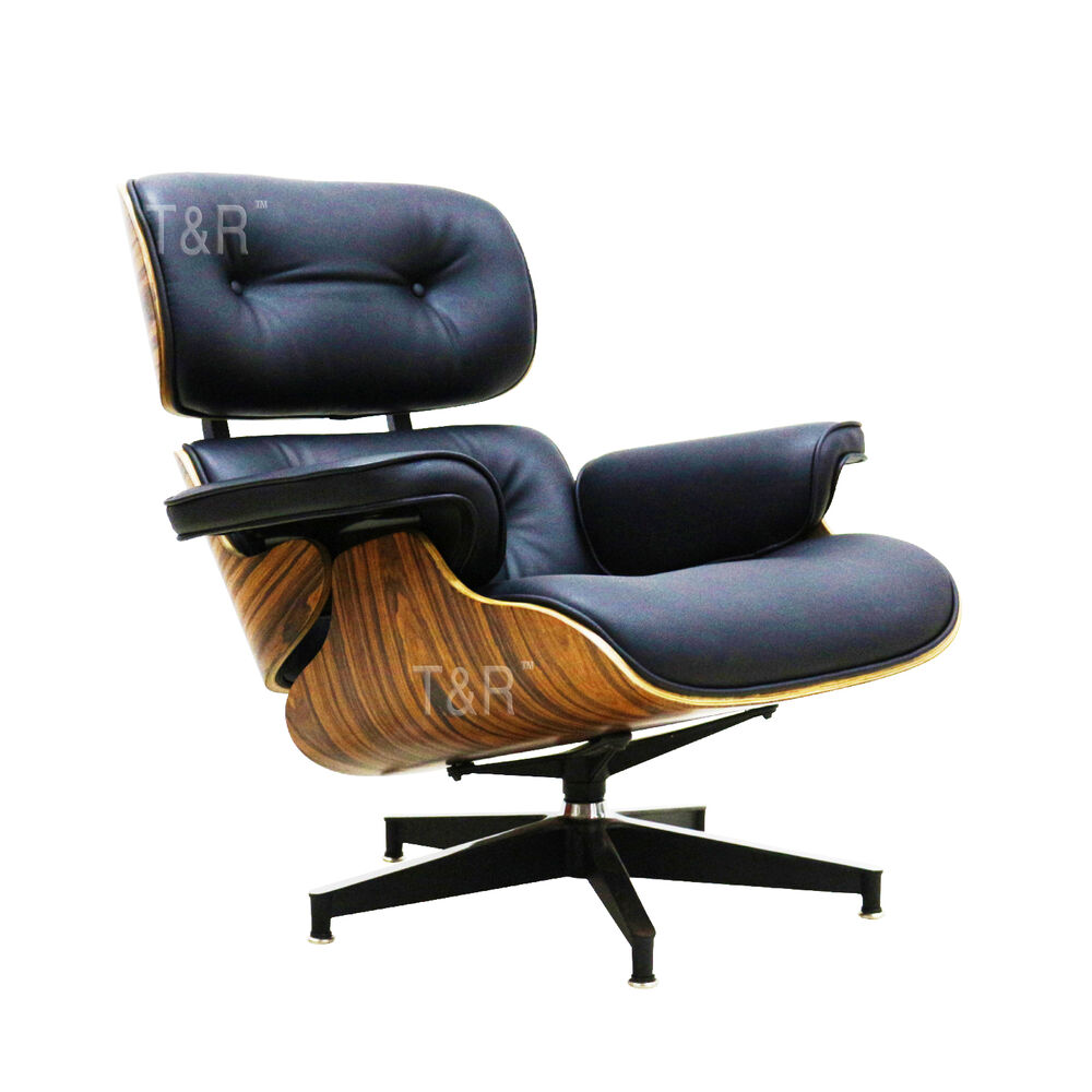 Eames Style Lounge Chair And Ottoman Black Premium PU Leather Palisander Plyw