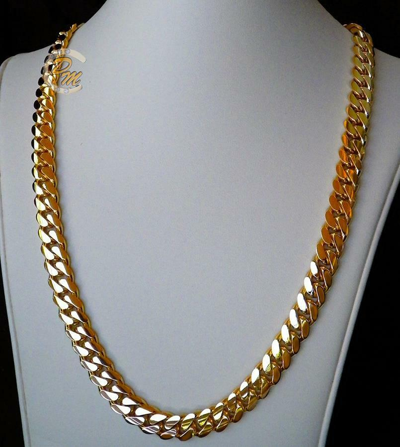 14K Gold Miami Men's Cuban Curb Link Chain Necklace 24 ...
