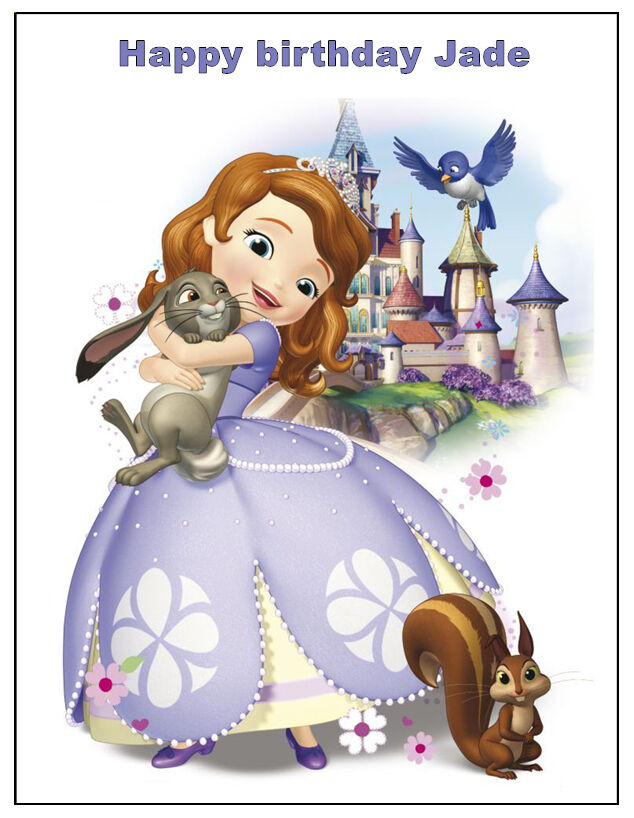DISNEY SOFIA THE FIRST PERSONALISED EDIBLE BIRTHDAY CAKE ...