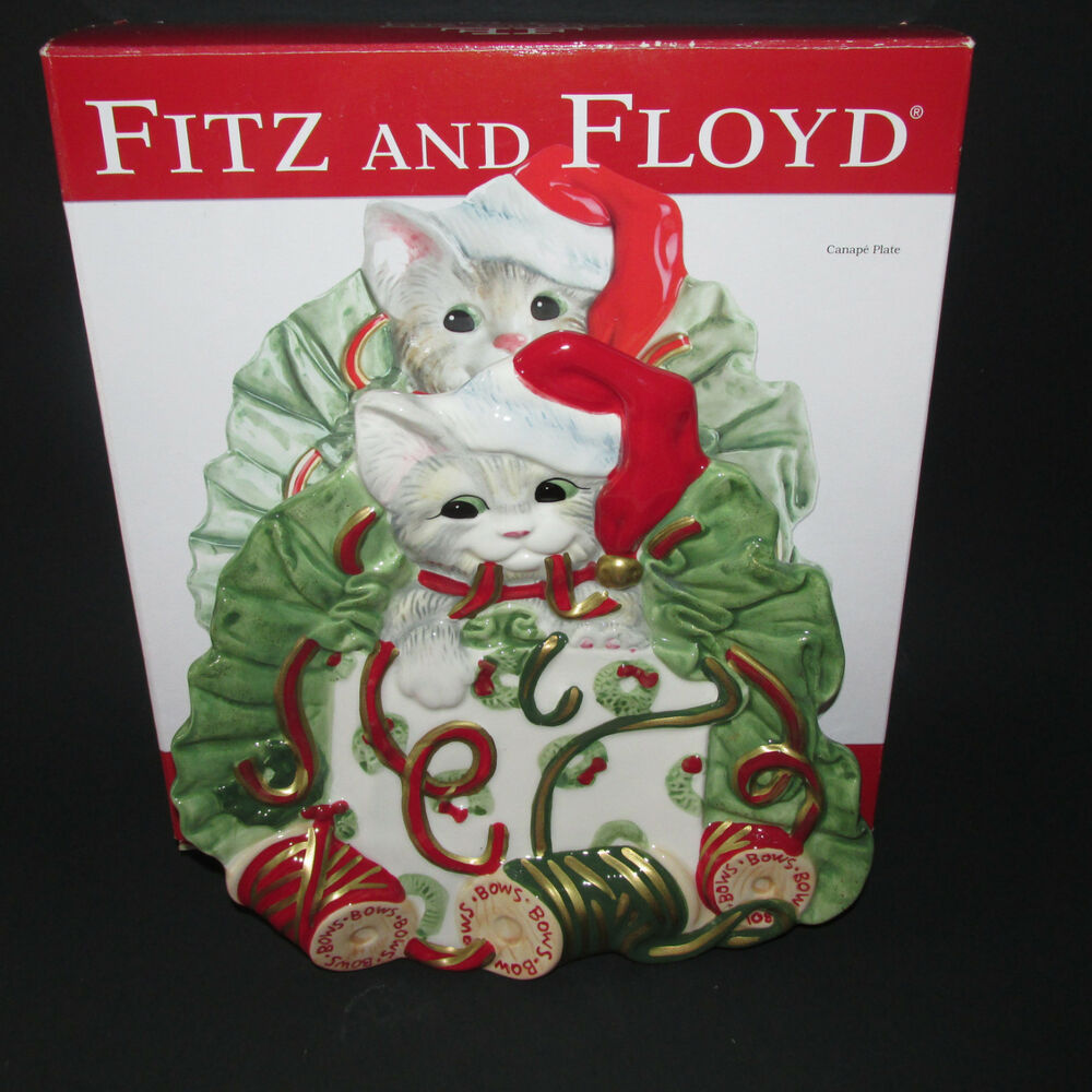 Fitz floyd kitty kringle canape plate bows cat ribbon for Fitz and floyd canape plate