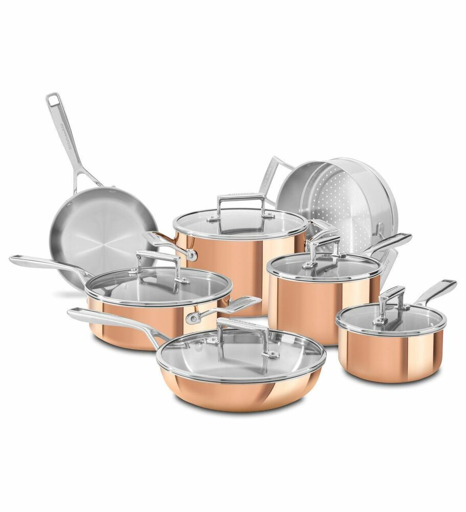 Kitchenaid tri ply copper 12 piece cookware set kitchen aid cooking pots pans ebay - Kitchen aid pan set ...