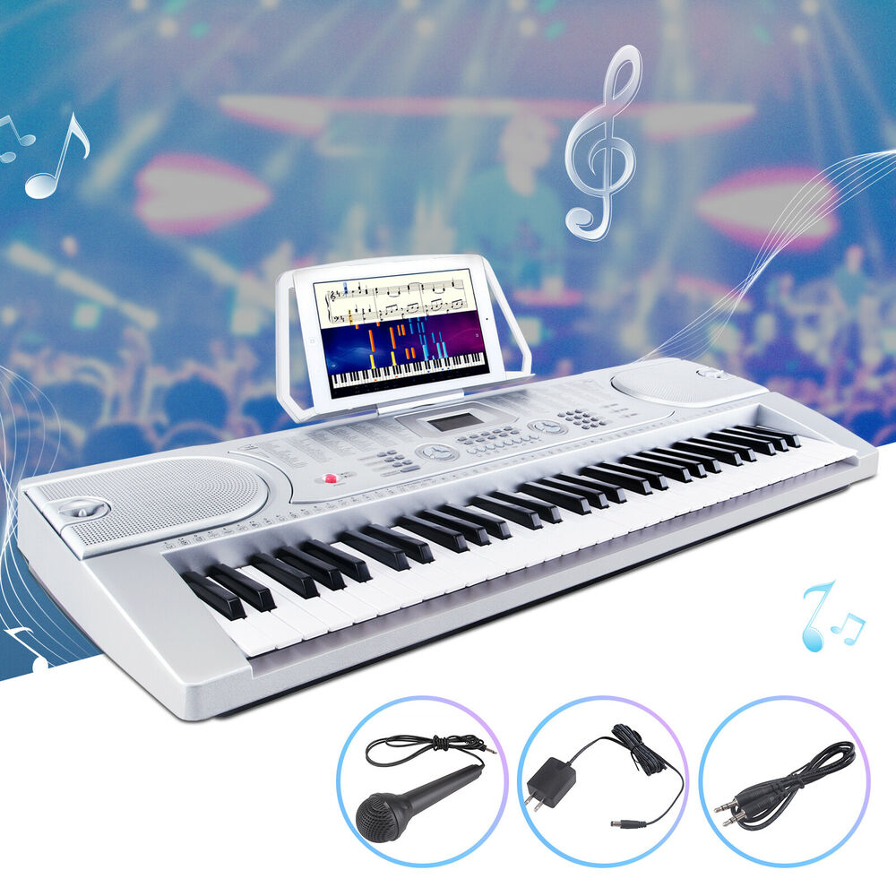 61 key music electronic keyboard digital piano organ w microphone silver ebay. Black Bedroom Furniture Sets. Home Design Ideas