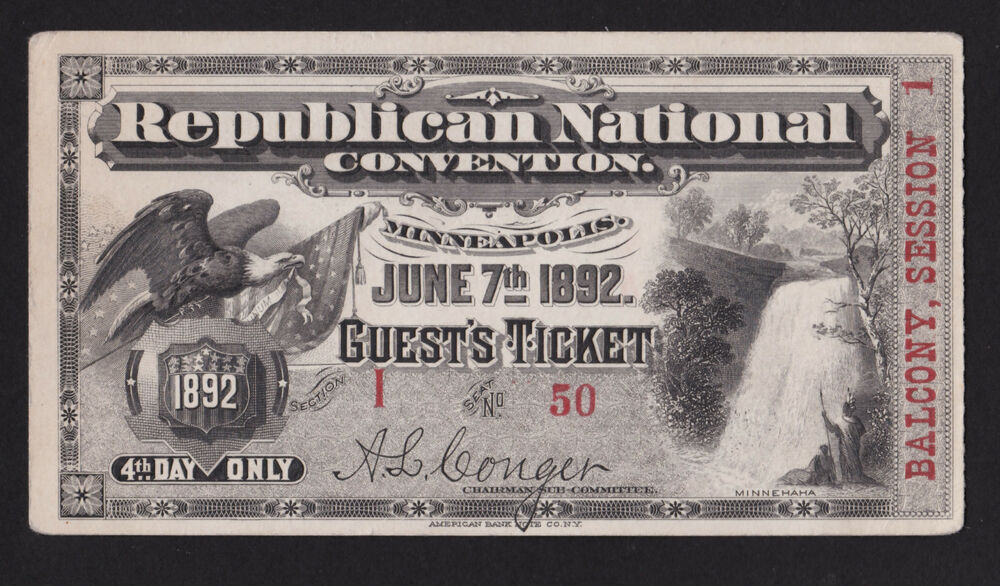 1892 Guest Ticket Republican National Convention