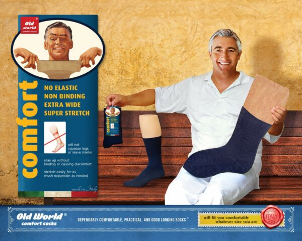 Premium Italian Extra Wide Comfort Non Binding Super Stretch Socks that Stay Up.