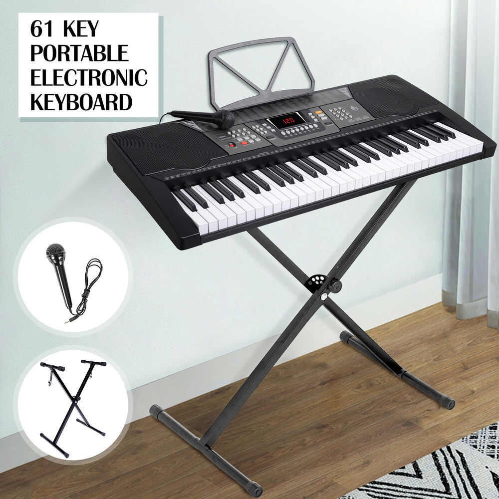 silver 61 key music digital electronic keyboard electric piano organ w stand ebay. Black Bedroom Furniture Sets. Home Design Ideas