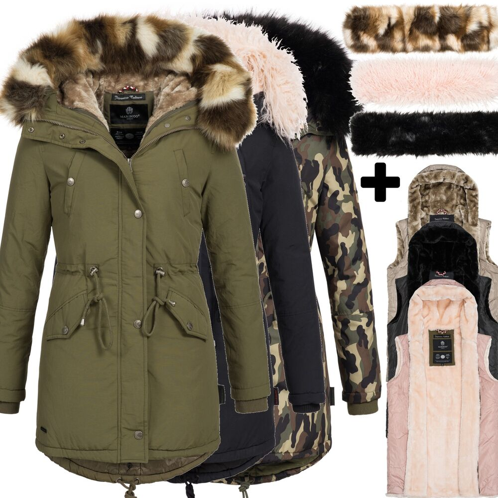 marikoo tiramisu 16in1 blogger damen jacke parka xxl fell winterjacke mantel ebay. Black Bedroom Furniture Sets. Home Design Ideas