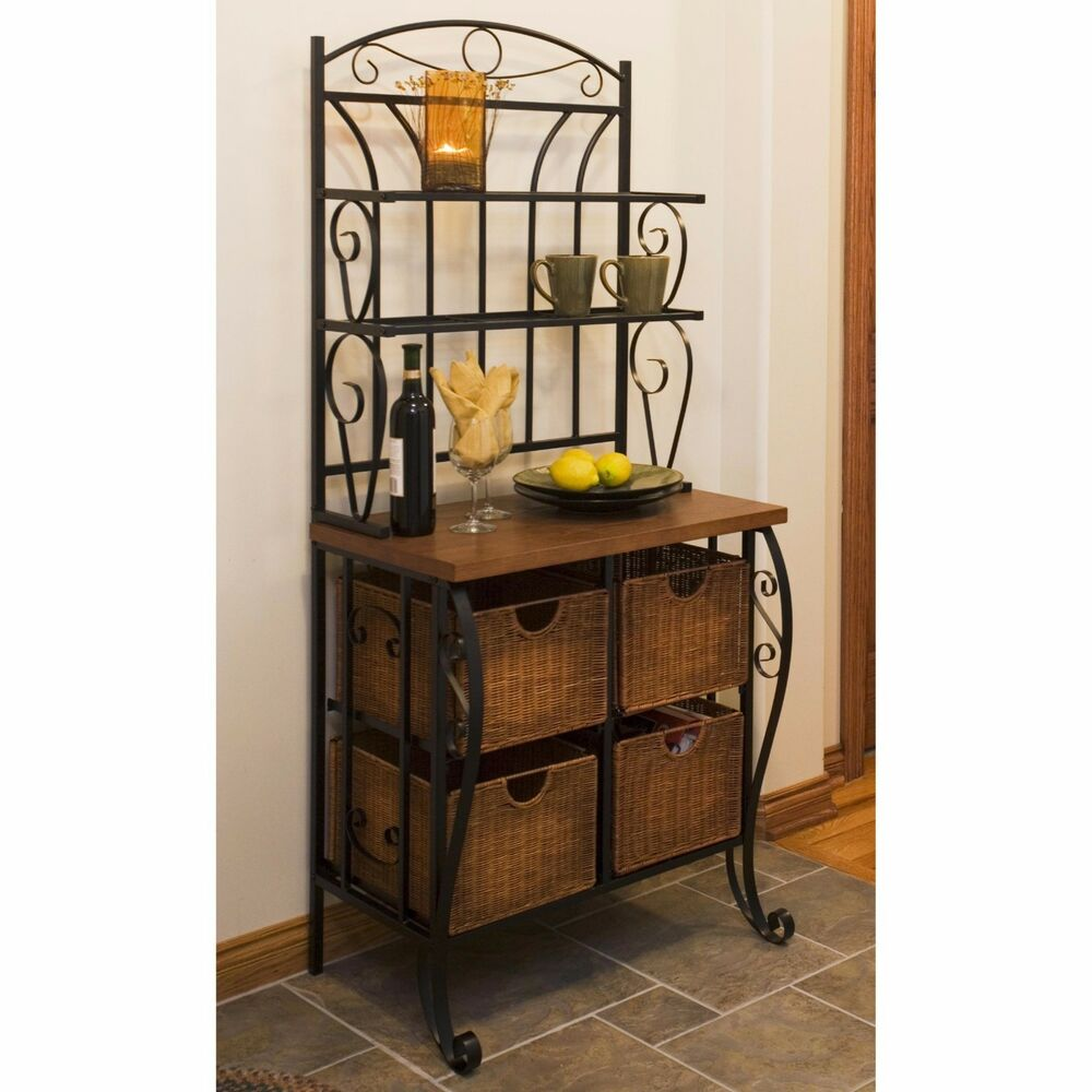 New iron bakers rack wicker baskets pantry storage metal for Kitchen shelf