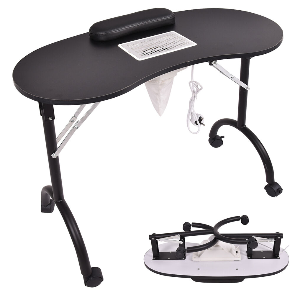 Black folding portable vented manicure table nail desk for Fold away nail table