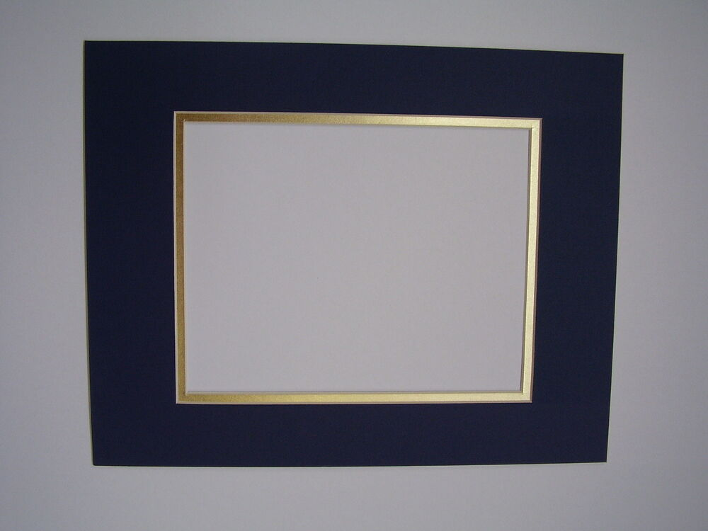 picture framing mats 18x24 photo mat for 11x17dark blue gold ebay. Black Bedroom Furniture Sets. Home Design Ideas