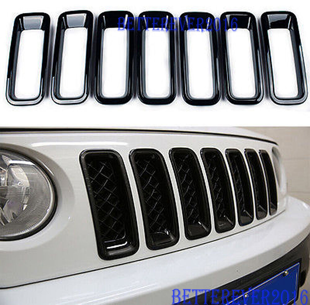 black abs front grill grille insert trim frame covers for 2011 17 jeep patriot ebay. Black Bedroom Furniture Sets. Home Design Ideas