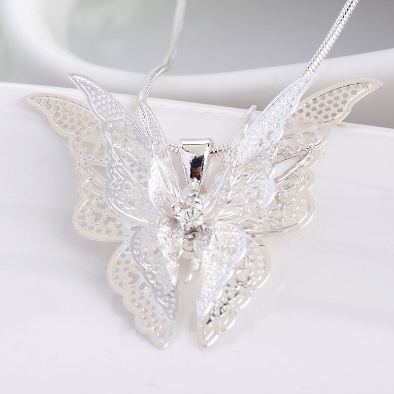 Women Fashion 925 Sterling Silver Butterfly Chain Pendant ...