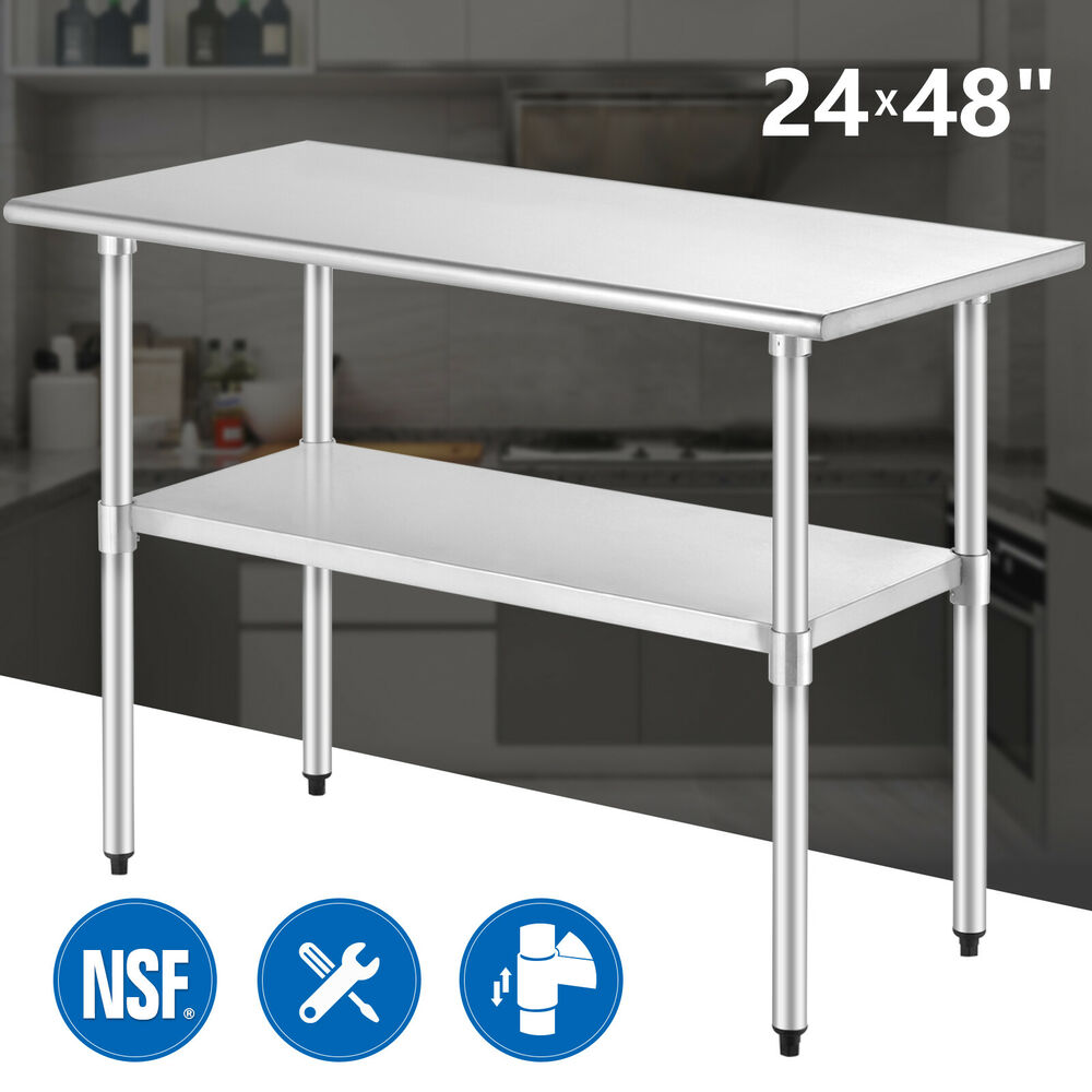24 x 48 commercial stainless steel work food prep table kitchen restaurant ebay - Industrial kitchen table stainless steel ...