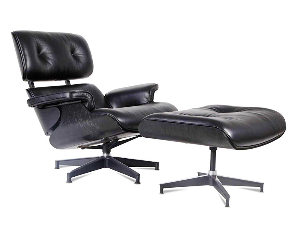 Eames Style Lounge Chair And Ottoman Black 100 Italian Leather Ebony Plywood
