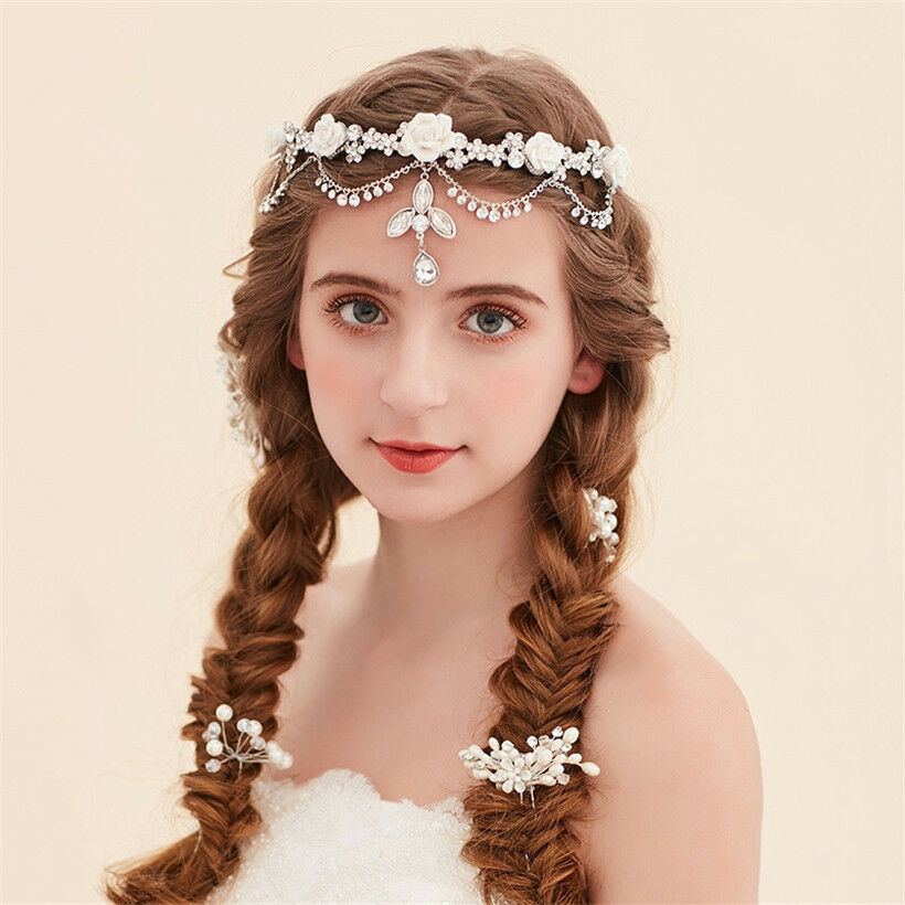 Wedding Hairstyle Crown: Wedding Bridal Crystal Flower Headband Forehead Crown
