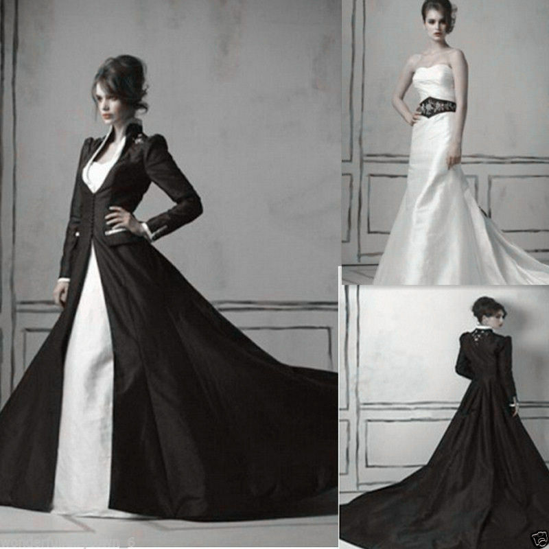Excellent Medieval Gothic Wedding Dress Sweetheart White And Black Bridal Gow