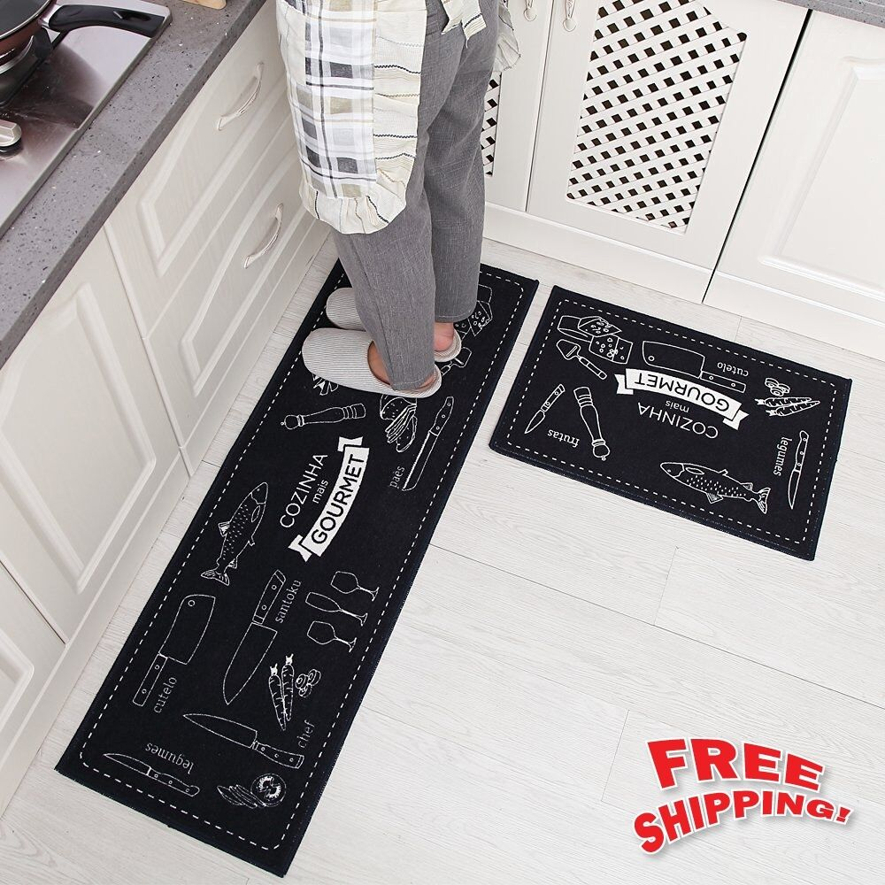 2 Non Slip Kitchen Floor Mat Rubber Backing Doormat Runner