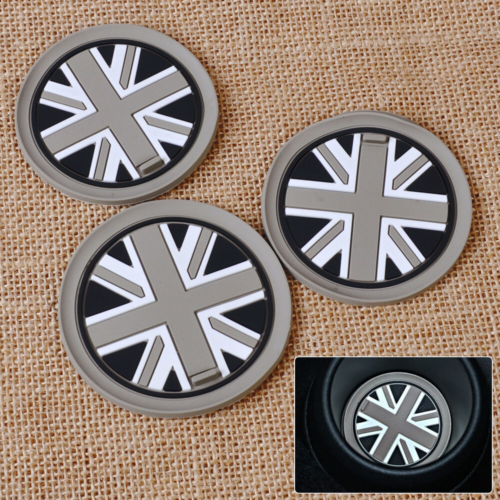 3x grey union jack flag anti slip cup mat pad for mini r55. Black Bedroom Furniture Sets. Home Design Ideas