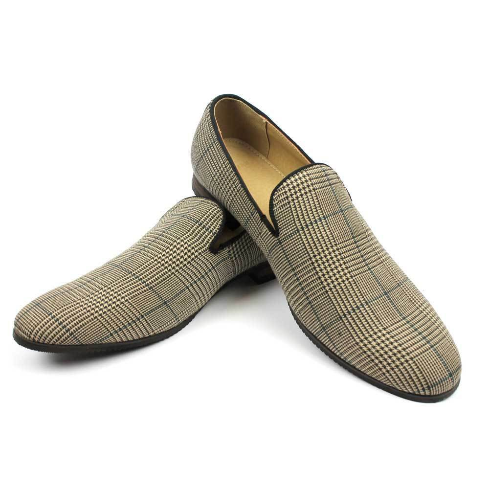 new s brown plaid checkered slip on loafers modern