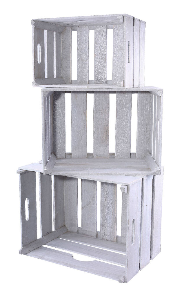 Bulk Vintage White Wooden Crate Storage Box Planter