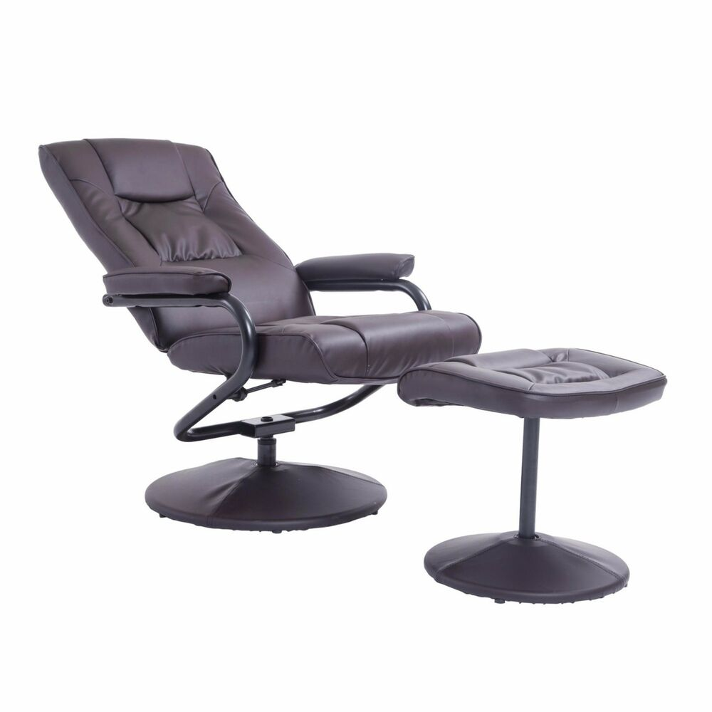 Leather Recliner And Ottoman Set Black Contemporary