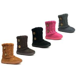 Kyпить New Kids Boots Toddler Girls Cute 2 buttons Faux Fur Suede Knitting Shoes-285 на еВаy.соm