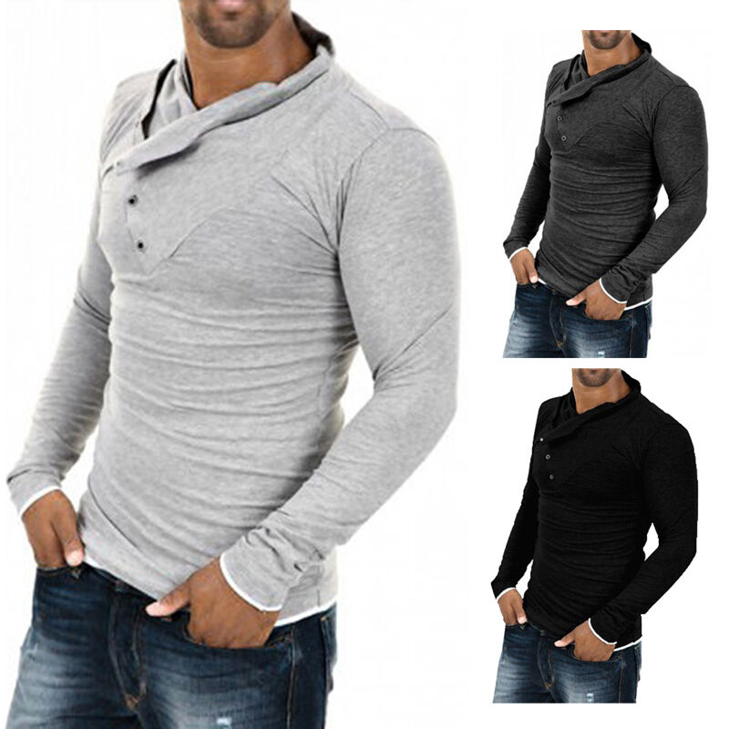 mens tops slim fit casual t shirts polo shirt long sleeve. Black Bedroom Furniture Sets. Home Design Ideas