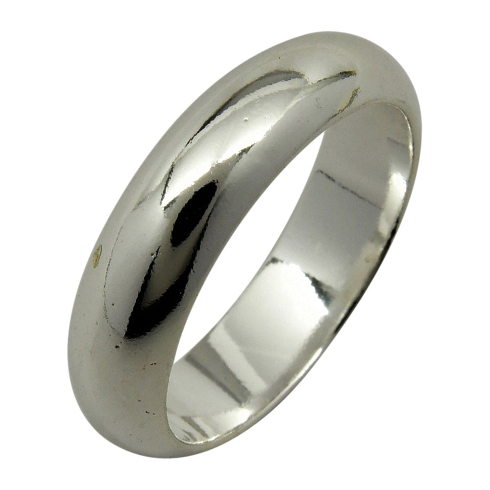 Sterling Silver Plain 5mm Wedding Band Ring Half Round