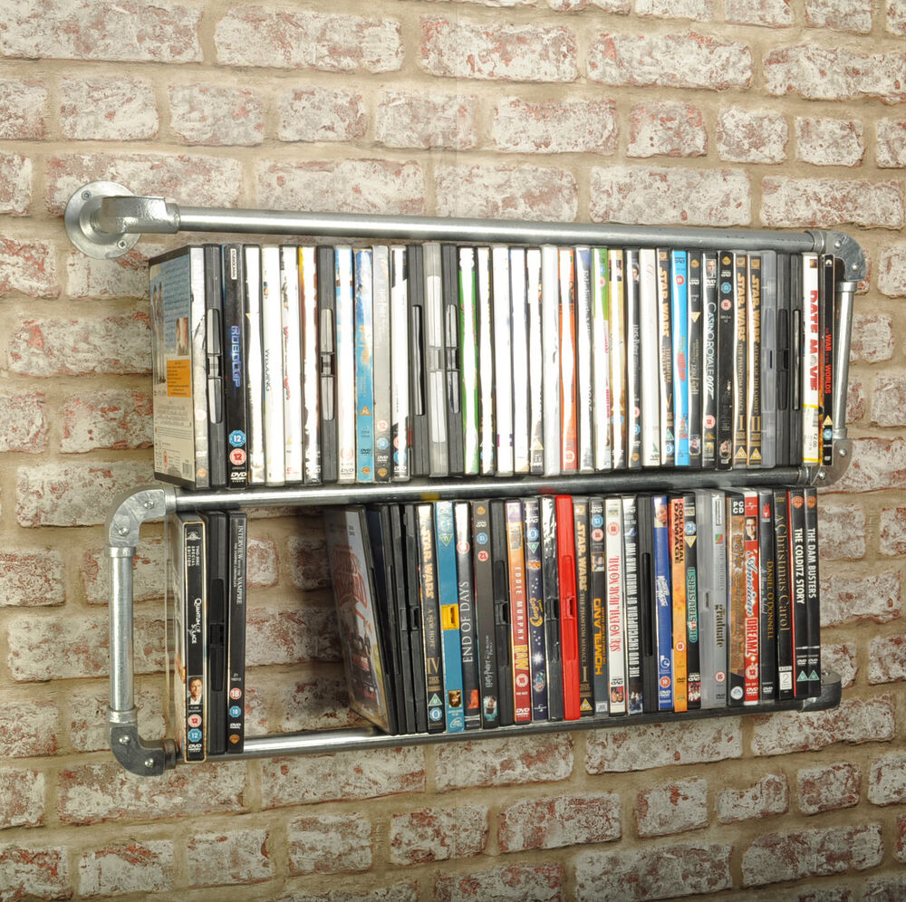 New Double Floating Industrial Style Dvd Rack Shelf