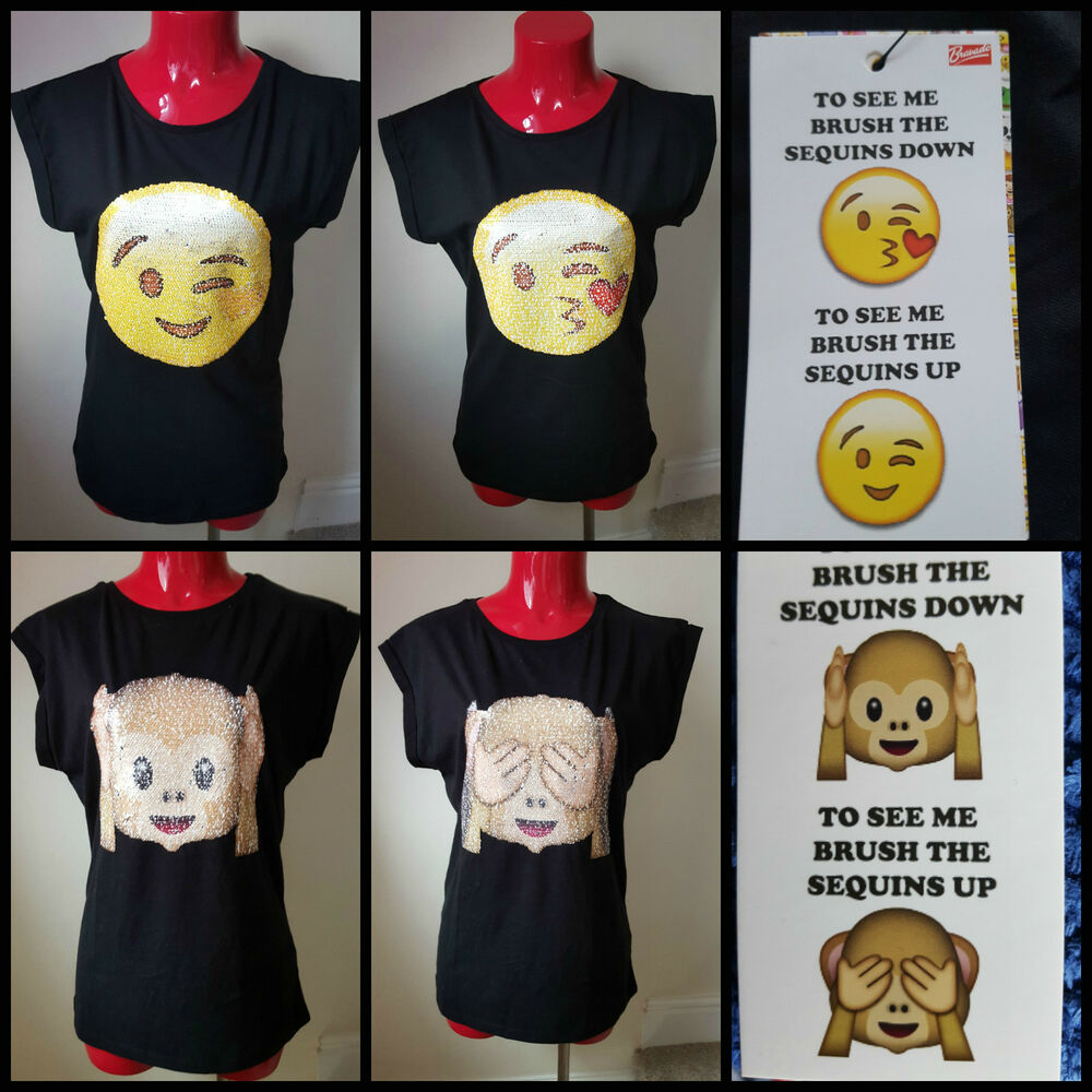 primark emoji emotionen t shirt top pinsel nderung. Black Bedroom Furniture Sets. Home Design Ideas
