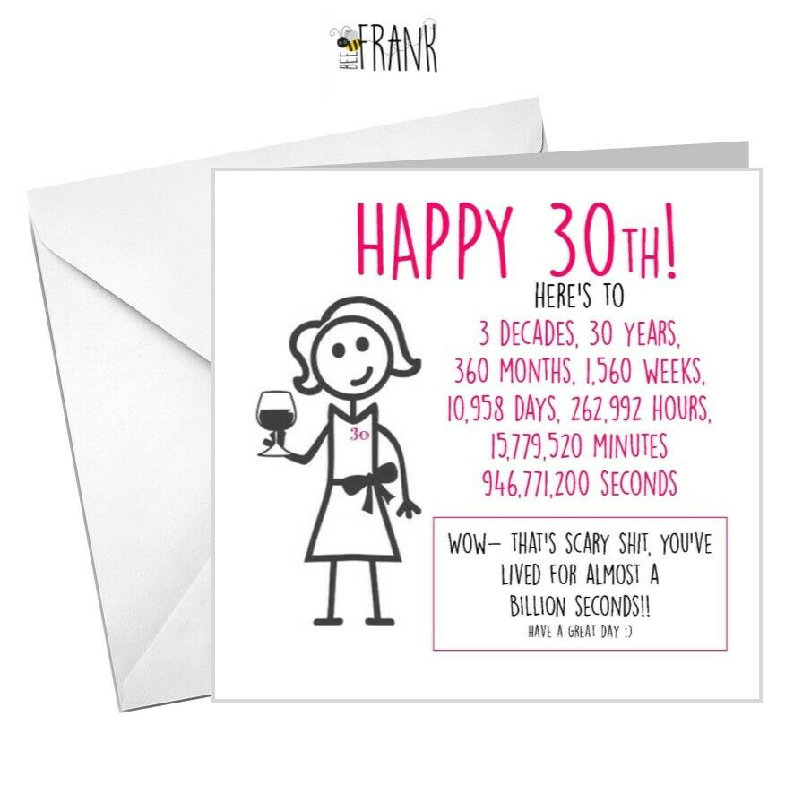 Details About Funny Rude Alternative Sarcastic Banter Comedy 30th BIRTHDAY Card