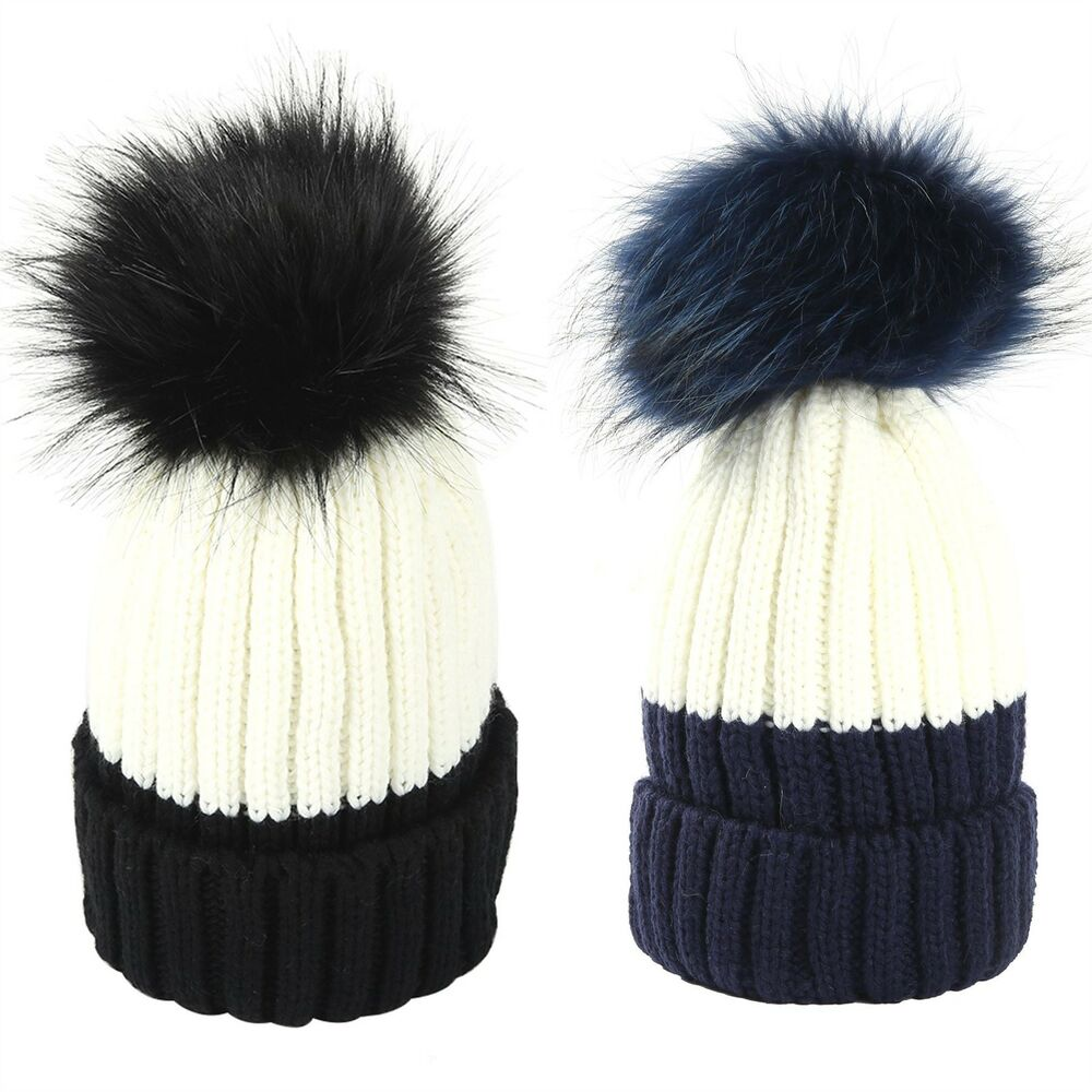 3e9106d679b Details about Ladies Ski Winter Real Raccoon Fur PomPom Two Colours Knitted  Hat Beanie Warmer