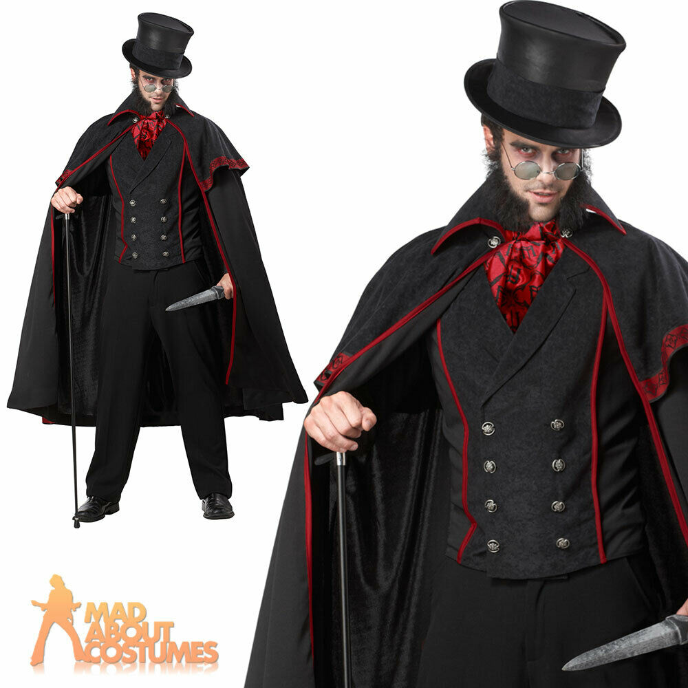 Jack the Ripper Costume Mens Victorian Halloween Vampire Fancy Dress Outfit New | eBay