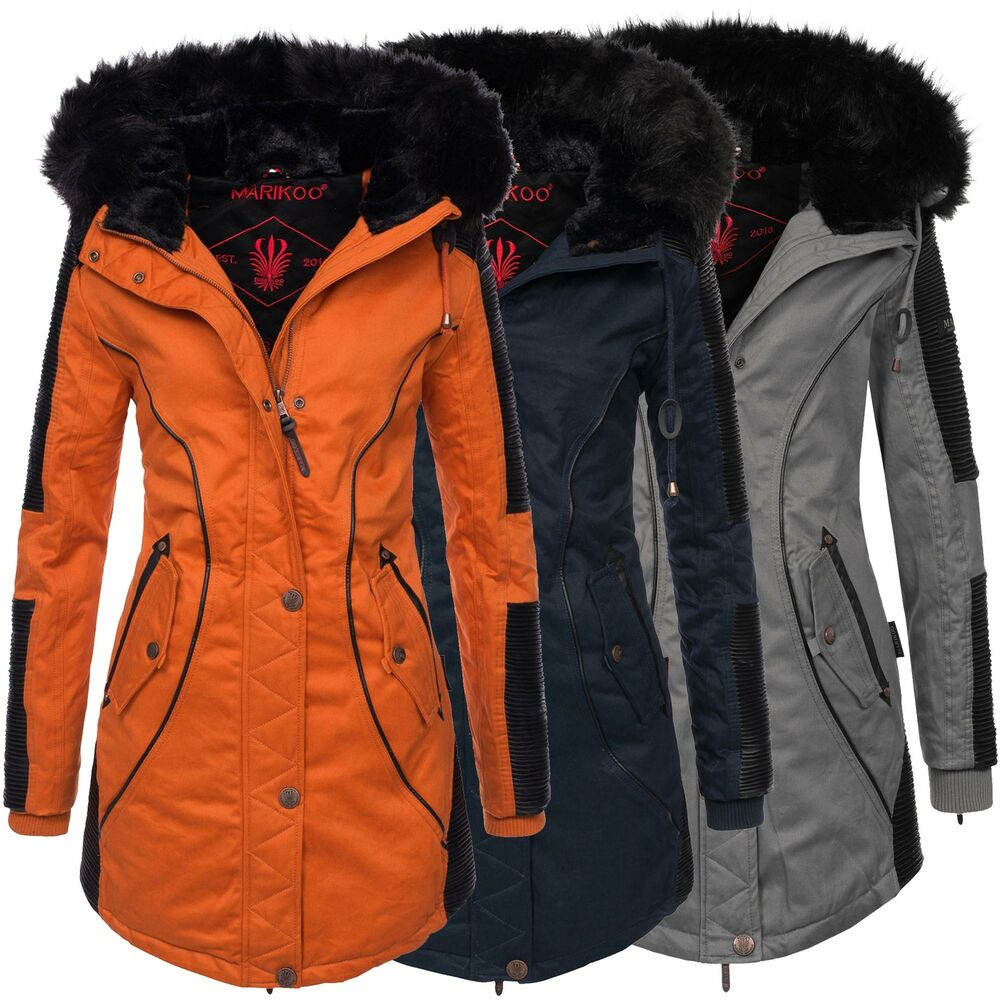 marikoo larissa designer damen winter parka warme winterjacke mantel jacke b372 ebay. Black Bedroom Furniture Sets. Home Design Ideas
