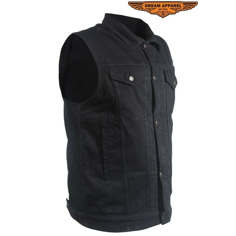 Denim Motorcycle Vests & Biker Denim Vests Browse our selection of denim biker vests in black and blue denim. Check out the popular anarchy club style black denim motorcycle vest for men that has concealed carry pockets.
