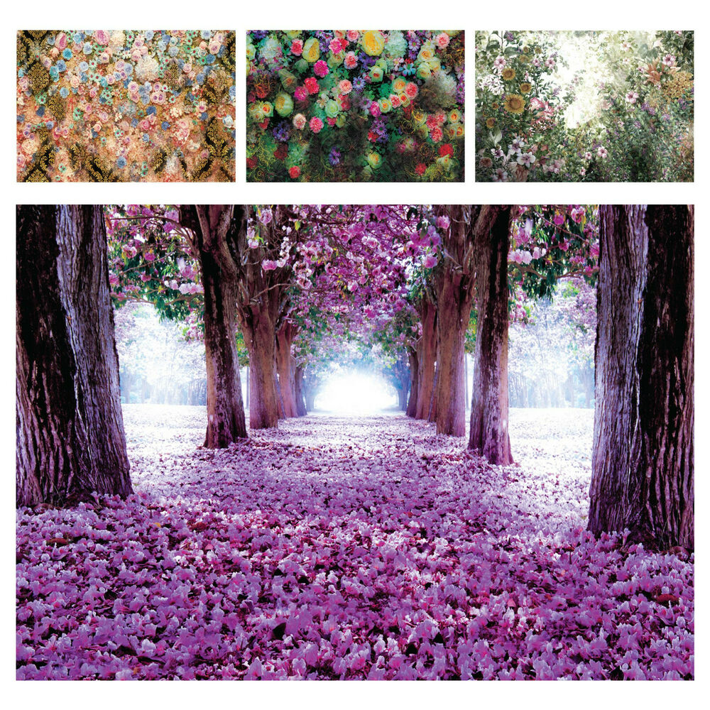 vlies tapete fototapeten tapeten wald natur baum allee blumen lila 14n2379vexxxl ebay. Black Bedroom Furniture Sets. Home Design Ideas