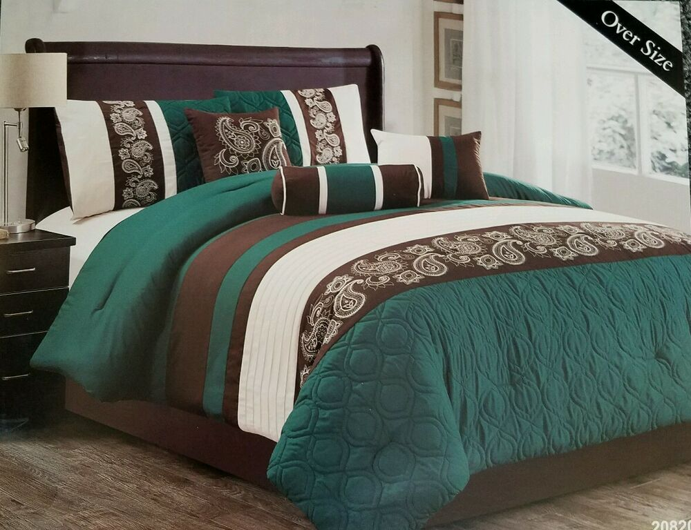 7 piece paisleys comforter set king w embroidery 110 x 96 oversized turquoise ebay. Black Bedroom Furniture Sets. Home Design Ideas