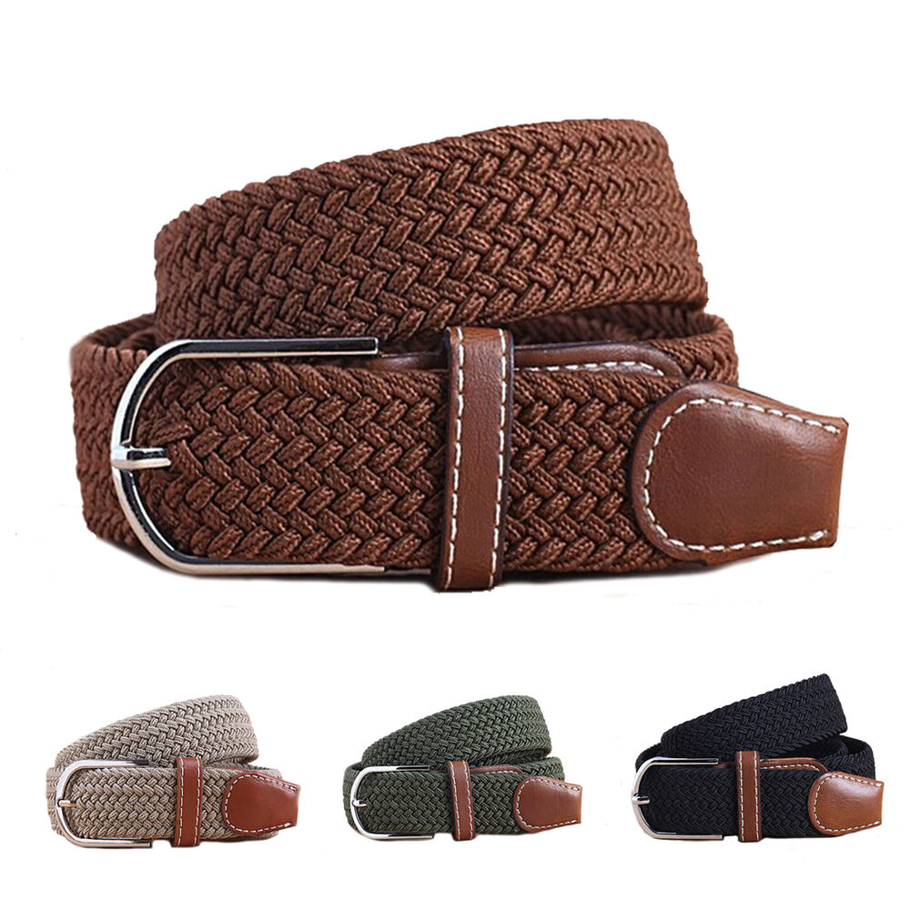 Military Braided Leather Belt Men Womens Elastic Stretch ...