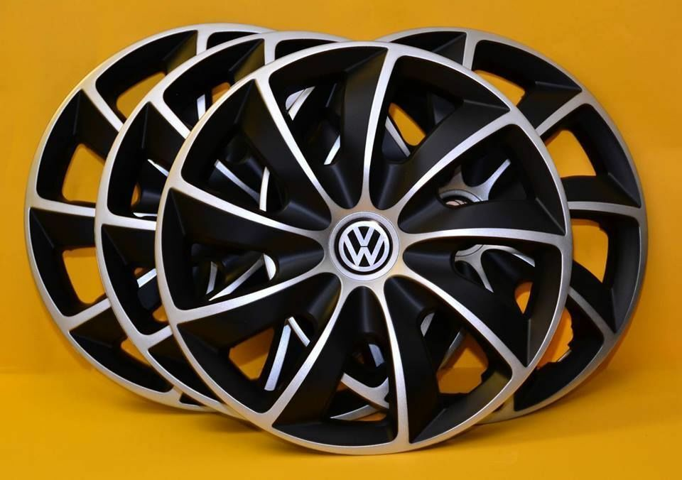 4x16 vw transporter t5 wheel trims covers hub caps black silver 16 inch ebay. Black Bedroom Furniture Sets. Home Design Ideas