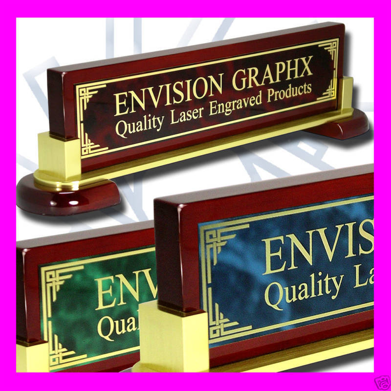 Large personalized custom desk name plate design gift - Brass name plate designs for home ...