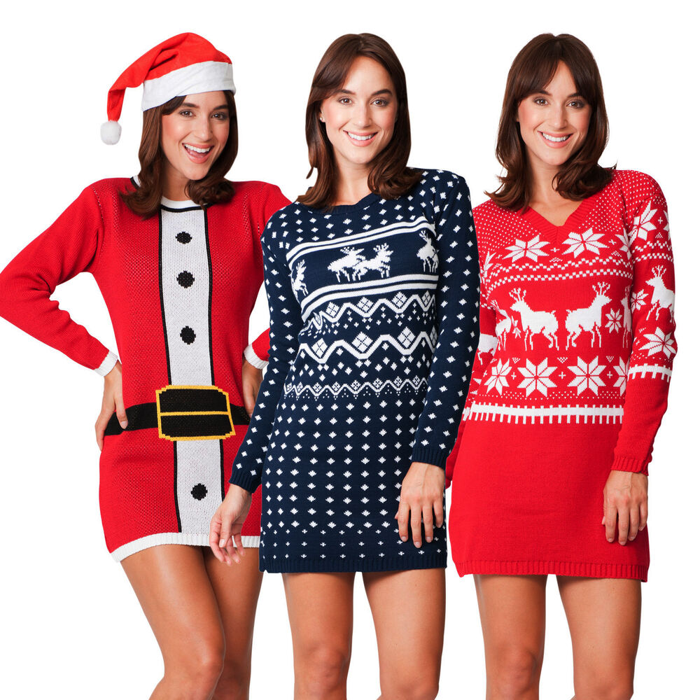 Christmas Jumper Party: Ladies Womens Novelty Christmas Xmas Knitted Tunic Retro
