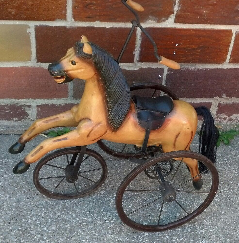 Horse Decor For The Home: Vintage Wood Horse Tricycle Cabin Home Store Decor