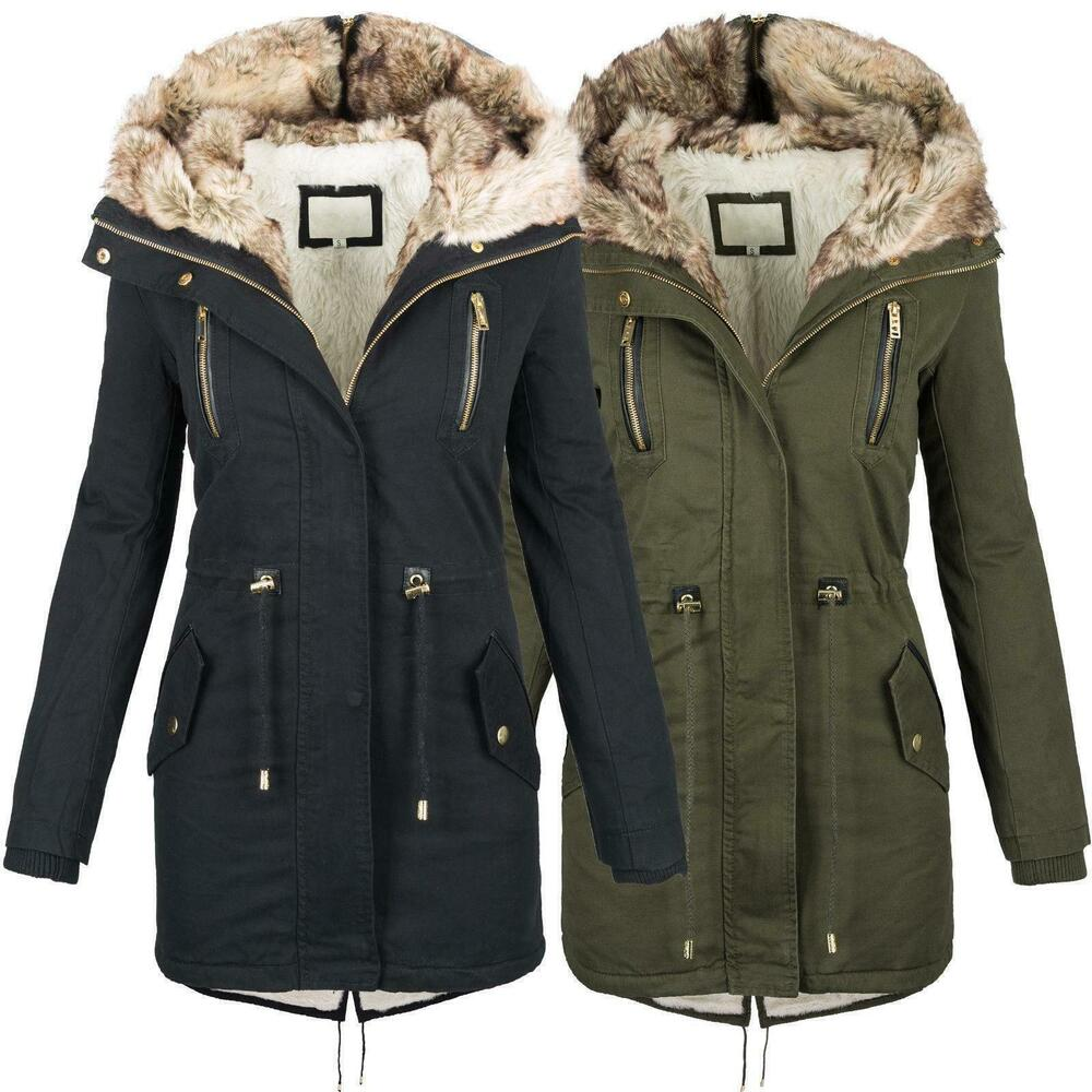 warme damen winter jacke parka langer mantel winterjacke fell kragen s xl b420 ebay. Black Bedroom Furniture Sets. Home Design Ideas