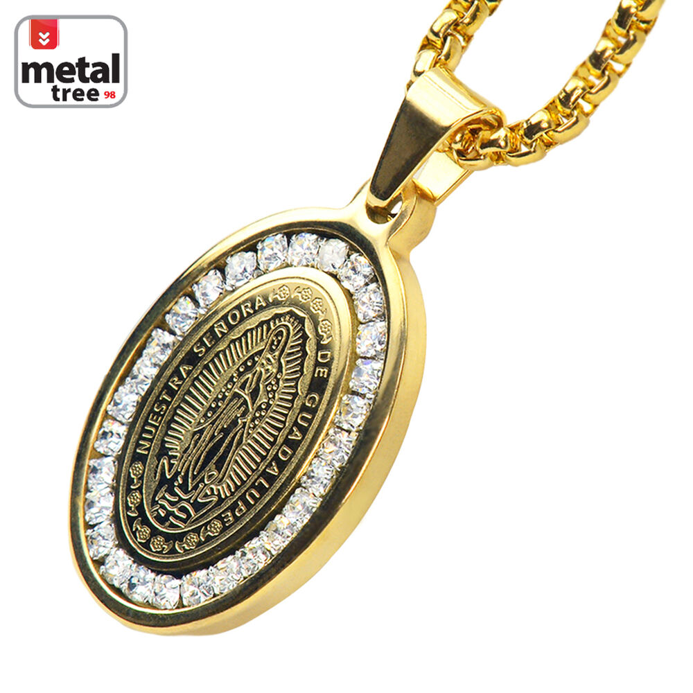 Men's Stainless Steel Guadalupe Virgin Mary Pendant 3mm ... Quartz Crystal Scp
