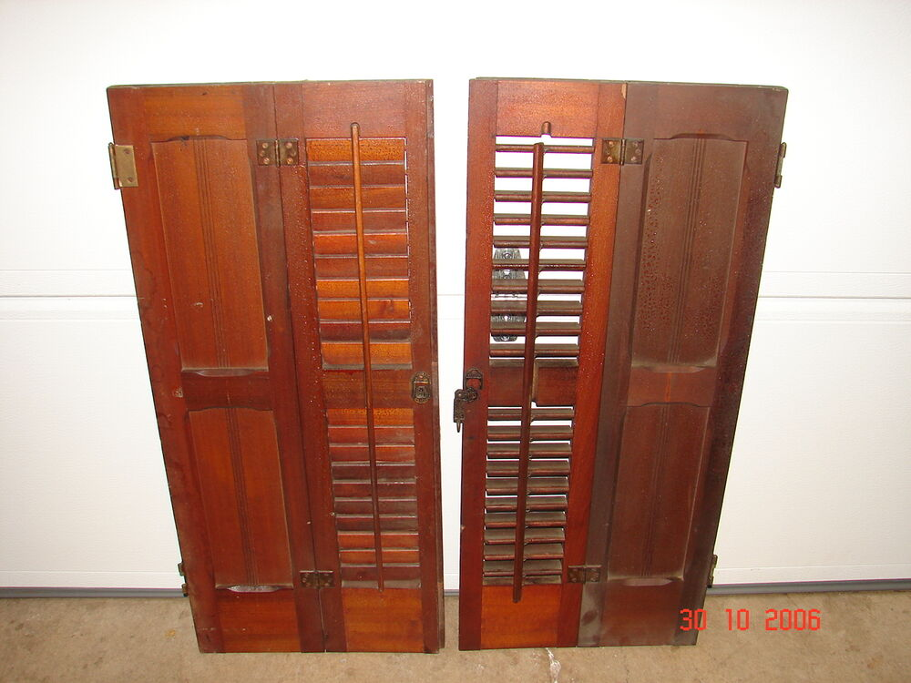 1 Set Antique Pine Eastlake Victorian Interior Panel Louver Window Shutters Ebay