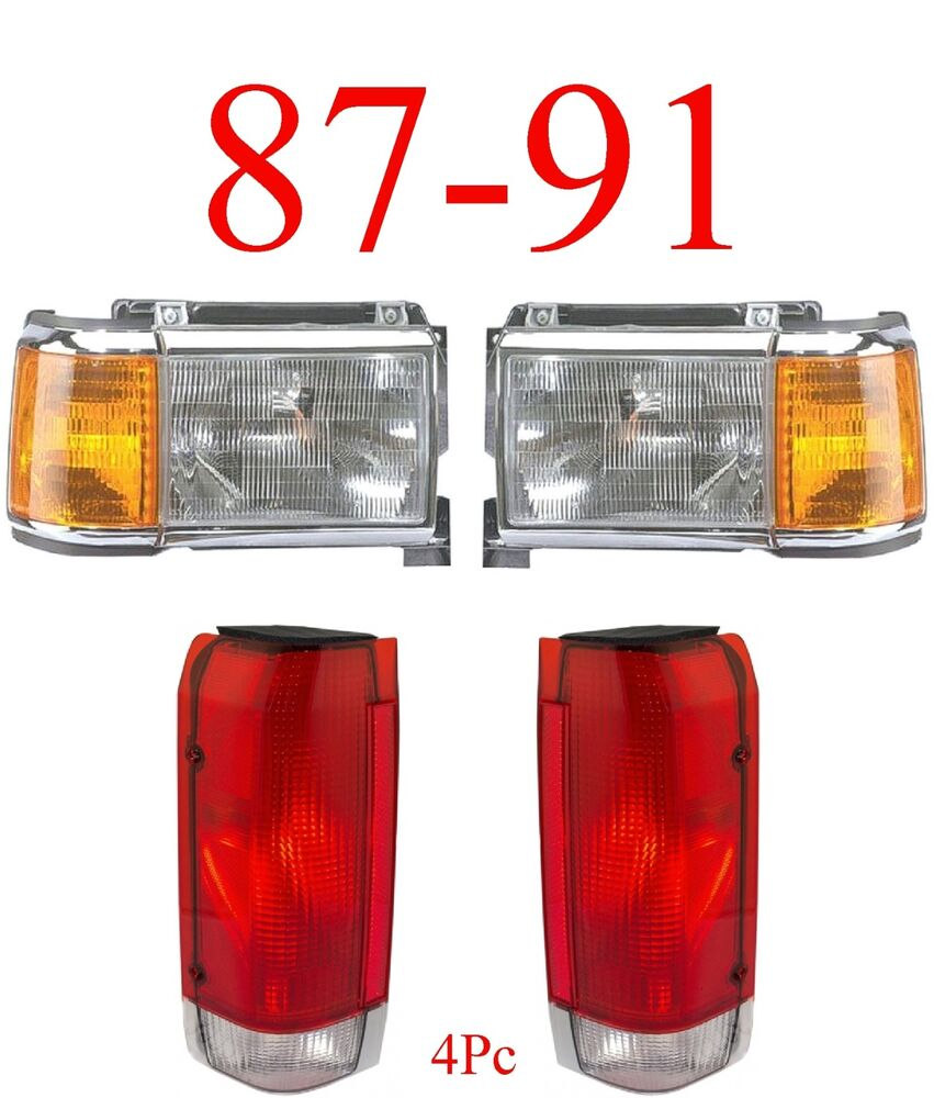87 91 Ford 4pc Head  U0026 Tail Light Kit  Chrome  F150  F250