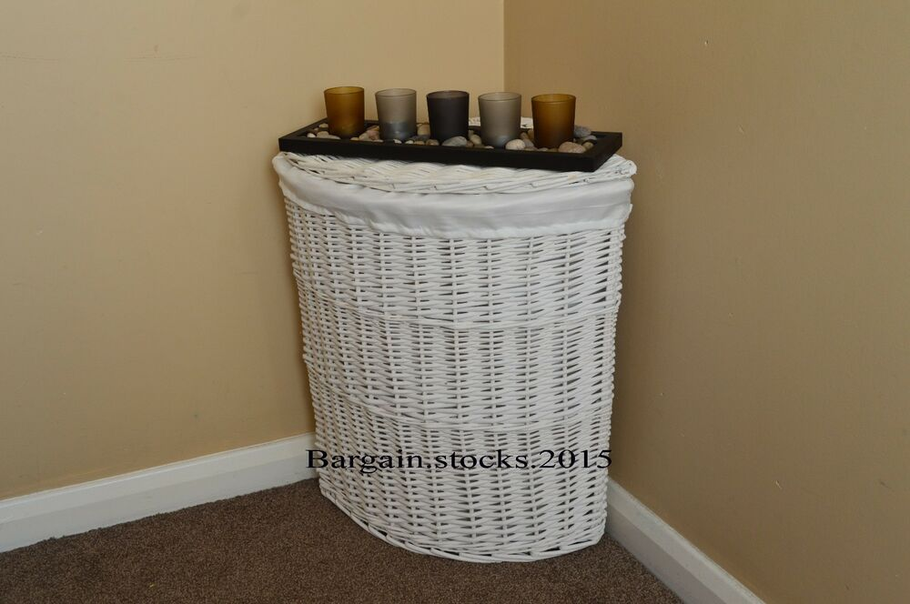 White lid corner wicker linen laundry basket removable cotton liner and lid new ebay - Wicker laundry basket with liner and lid ...