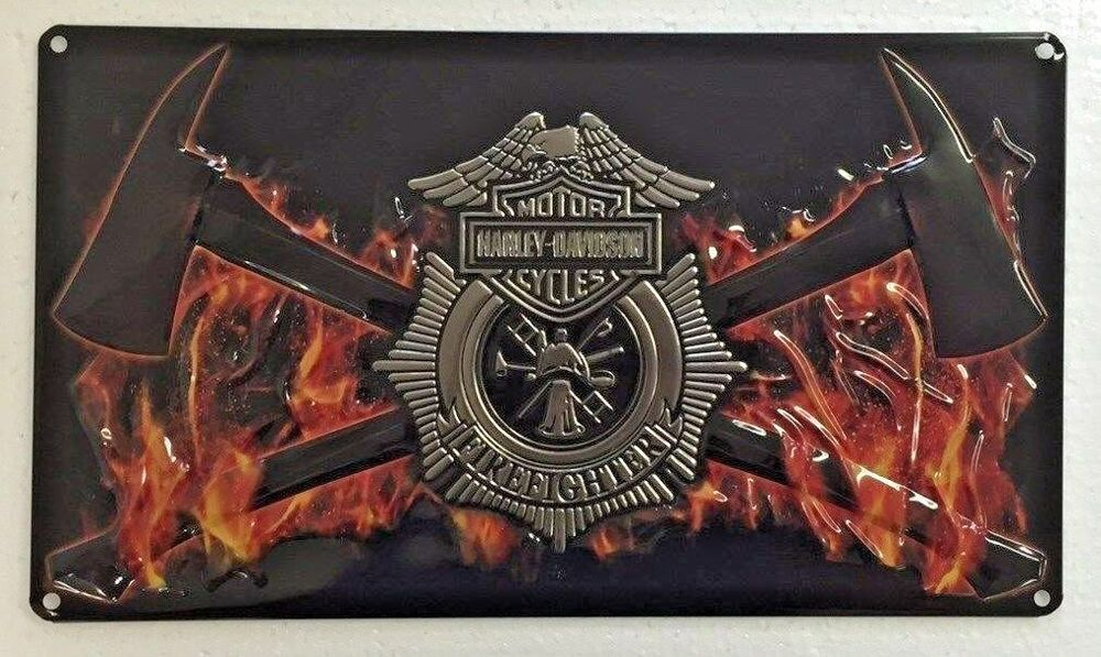 Ande Rooney Harley Davidson Fire Axes Tin Firemen