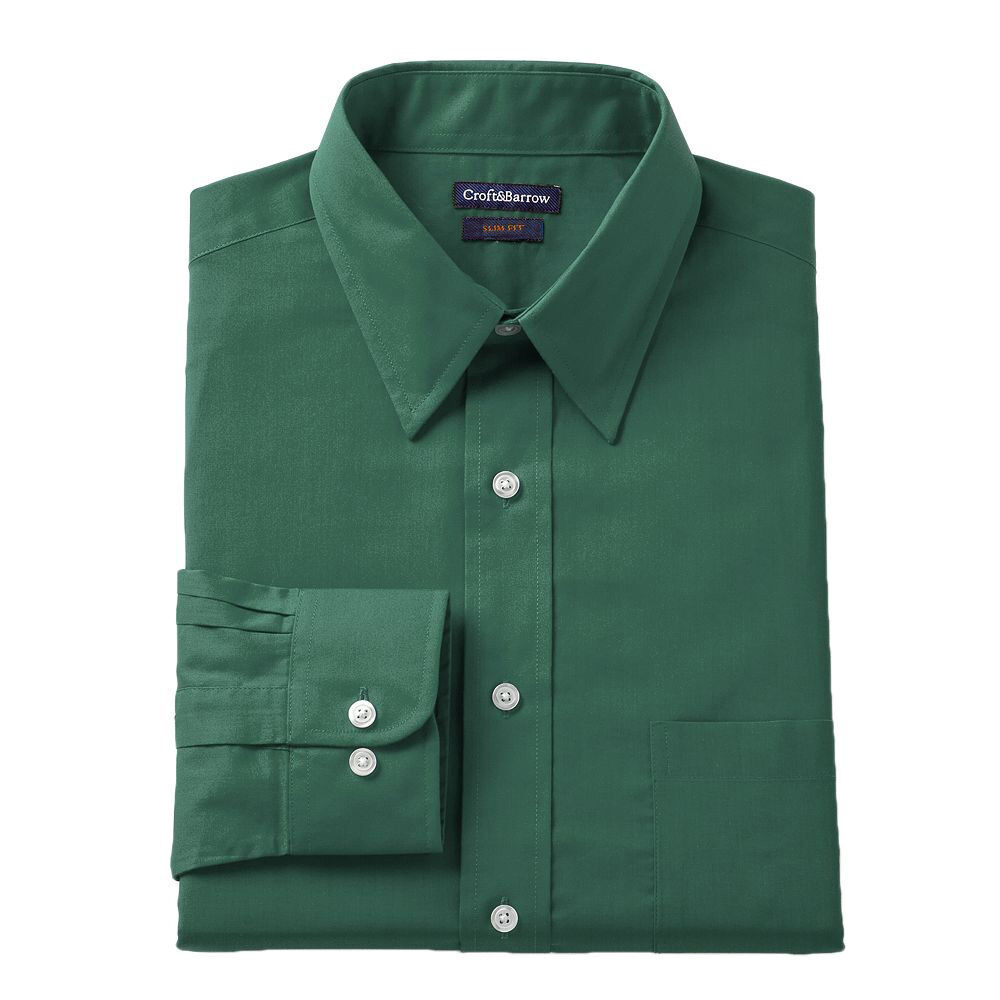 New men 39 s croft barrow slim fit point collar green dress for Men s classic dress shirts